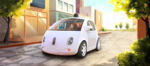 Un render artistico della Google Car autonoma