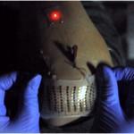 La batteria funzionante applicata ad un gomito umano (Credit: Nature Communications)