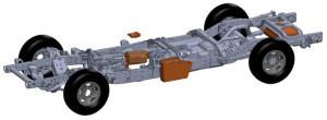 I componenti del sistema ibrido di XL Hybrids (color marrone) inseriti nell'architettura del veicolo - Credit: XL Hybrids