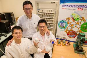 NTU Assoc Prof Chen Xiaodong with research fellow Tang Yuxin and PhD student Deng Jiyang