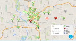 La mappa dei punti di prelievo BlueIndy ad Indianapolis - Screenshot da blue-indy.com